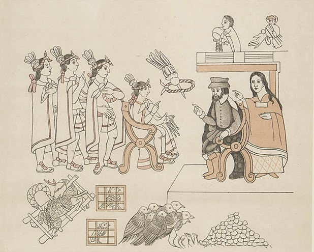 Depiction of Cortez meeting Moctezuma