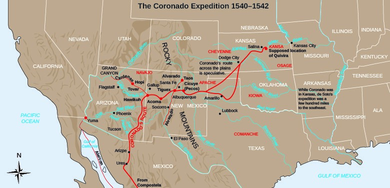 "This map traces Coronado's path through the American Southwest and the Great Plains. The regions through which he traveled were not empty areas waiting to be ""discovered"": rather, they were populated and controlled by the groups of native peoples indicated. (credit: modification of work by National Park Service)"