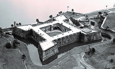 The Spanish fort of Castillo de San Marcos helped Spanish colonists in St. Augustine fend off marauding privateers from rival European countries.