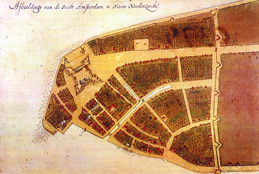 The Castello Plan is the only extant map of 1660 New Amsterdam (present-day New York City). The line with spikes on the right side of the colony is the northeastern wall for which Wall Street was named.