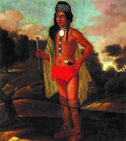 In this 1681 portrait, the Niantic-Narragansett chief Ninigret wears a combination of European and Indian goods. Which elements of each culture are evident in this portrait?
