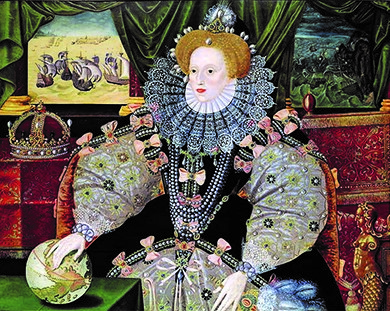 This portrait of Elizabeth I of England, painted by George Gower in about 1588, shows Elizabeth with her hand on a globe, signifying her power over the world. The pictures in the background show the English defeat of the Spanish Armada.