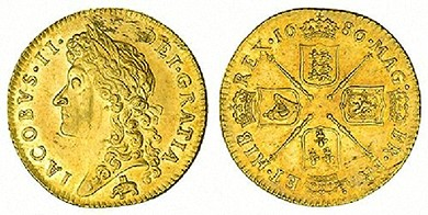 The 1686 English guinea shows the logo of the Royal African Company, an elephant and castle, beneath a bust of King James II. The coins were commonly called guineas because most British gold came from Guinea in West Africa.