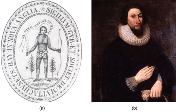 """In the 1629 seal of the Massachusetts Bay Colony, an Indian (a) is shown asking colonists to """"Come over and help us."""" This seal indicates the religious ambitions of John Winthrop (b), the colony's first governor, for his """"city upon a hill."""""""