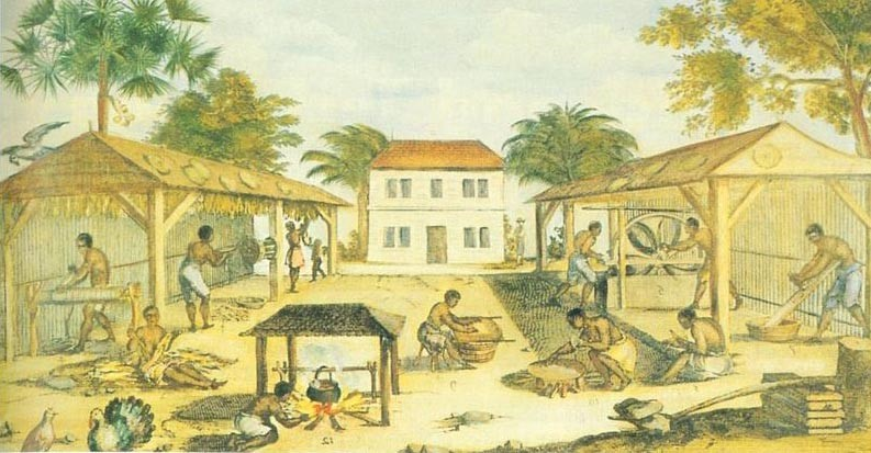 In this 1670 painting by an unknown artist, African slaves work in tobacco-drying sheds. Half a century earlier, such a scene might have depicted English indentured servants.