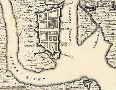 The port of colonial Charles Town, depicted here on a 1733 map of North America, was the largest in the South and played a significant role in the Atlantic slave trade.
