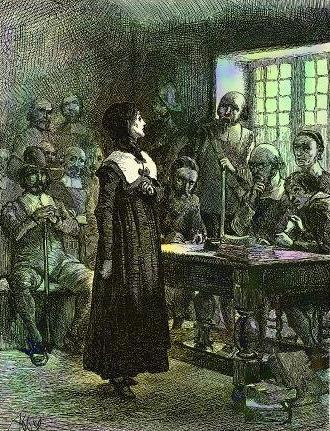 Popular representation of Hutchinson standing trial, by Edwin Austin Abbey (1901).