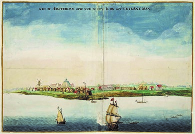 """View of New Amsterdam"" (ca. 1665), a watercolor by Johannes Vingboons, was painted during the Anglo-Dutch wars of the 1660s and 1670s. New Amsterdam was officially reincorporated as New York City in 1664, but alternated under Dutch and English rule until 1674."