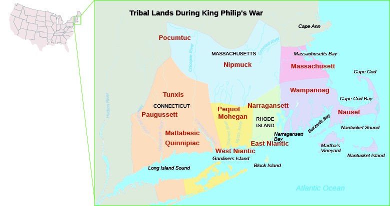 This map indicates the domains of New England's native inhabitants in 1670.
