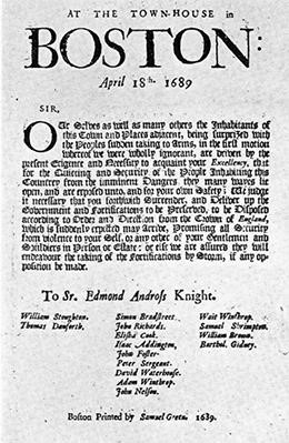 """This broadside, signed by several citizens, demanded the surrender of Sir Edmund (spelled here """"Edmond"""") Andros, James II's handpicked leader of the Dominion of New England."""