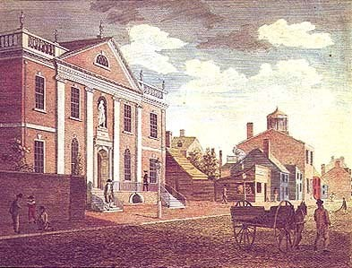 A depiction of the building that housed the Library Company of Philadelphia, as it looked in 1800.