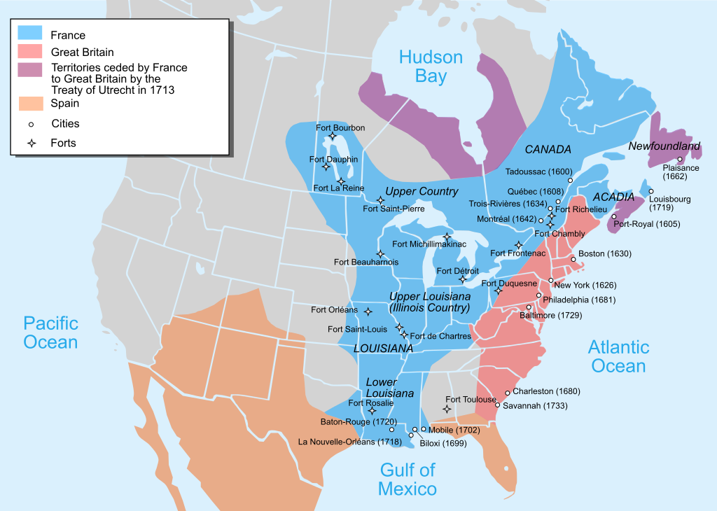 British and French empires in North America by 1754.