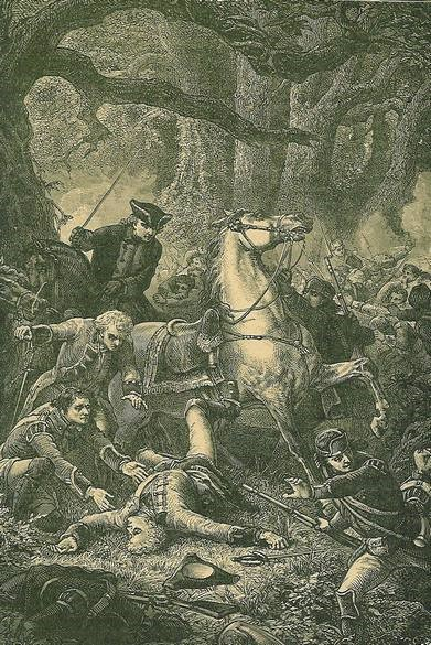 An engraving depicting General Edward Braddock's death in battle, 1755.