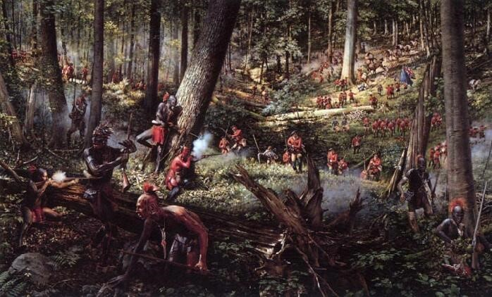A battle between the British and Indians in North America during the French and Indian War.