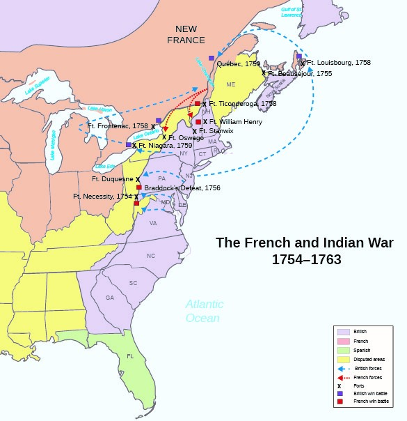 Map showing the major campaigns during the French and Indian War (1754-1763).