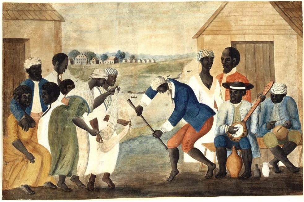 The Old Plantation (Slaves Dancing on a South Carolina Plantation), ca. 1785-1795.  The image depicts slaves dancing outside their quarters, perhaps celebrating a wedding. Note that much of the slaves' clothing appears to be European, while the musical instruments and pottery are African in origin.