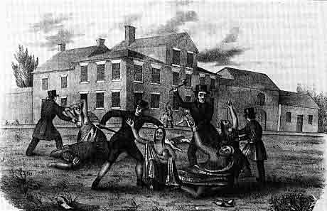 This 19th-century lithograph depicts the massacre of Conestoga Indians in 1763 at Lancaster, Pennsylvania, where they had been placed in protective custody. None of the attackers, members of the Paxton Boys, were ever identified.