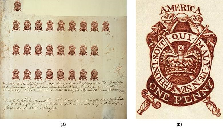 Image (a) shows a partial proof sheet of one-penny stamps. Image (b) provides a close-up of a one-penny stamp.