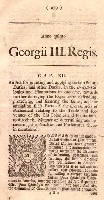 Announcement of the 1765 Stamp Act in a colonial newspaper.