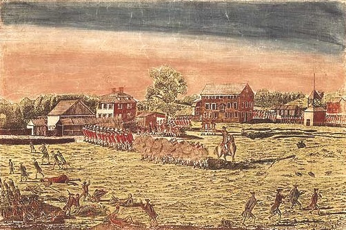 Engraving by Amos Doolittle depicting the Battle of Lexington, April 19, 1775.