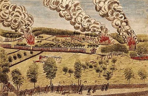 Doolittle's engraving that depicts the British retreat to Boston, April 19, 1775.