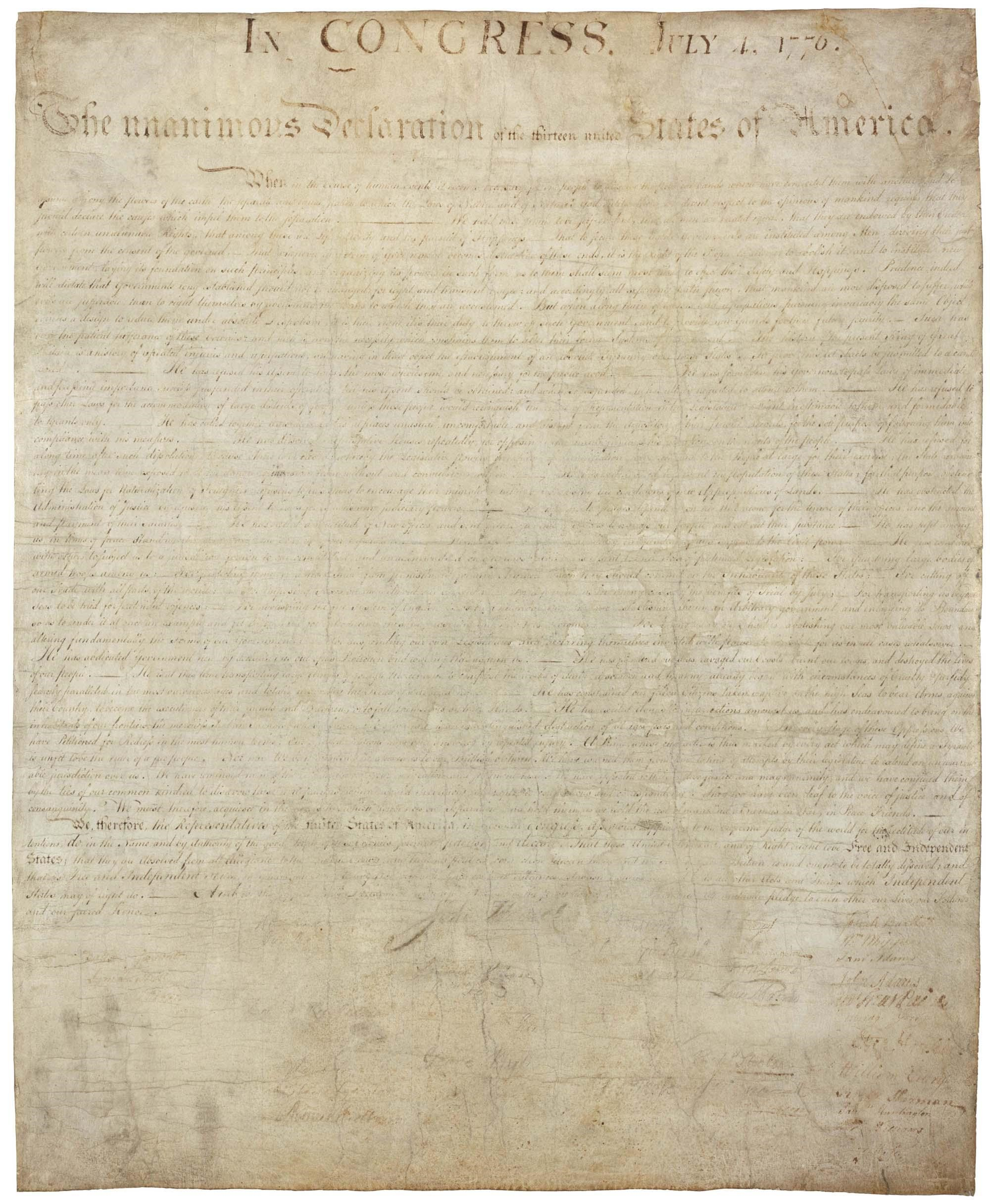 The United States Declaration of Independence, as it appears on display at the National Archives.