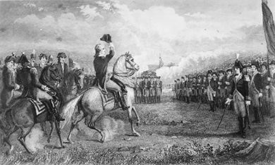 This 1775 etching shows George Washington taking command of the Continental Army at Cambridge, Massachusetts, after his appointment by the Continental Congress.