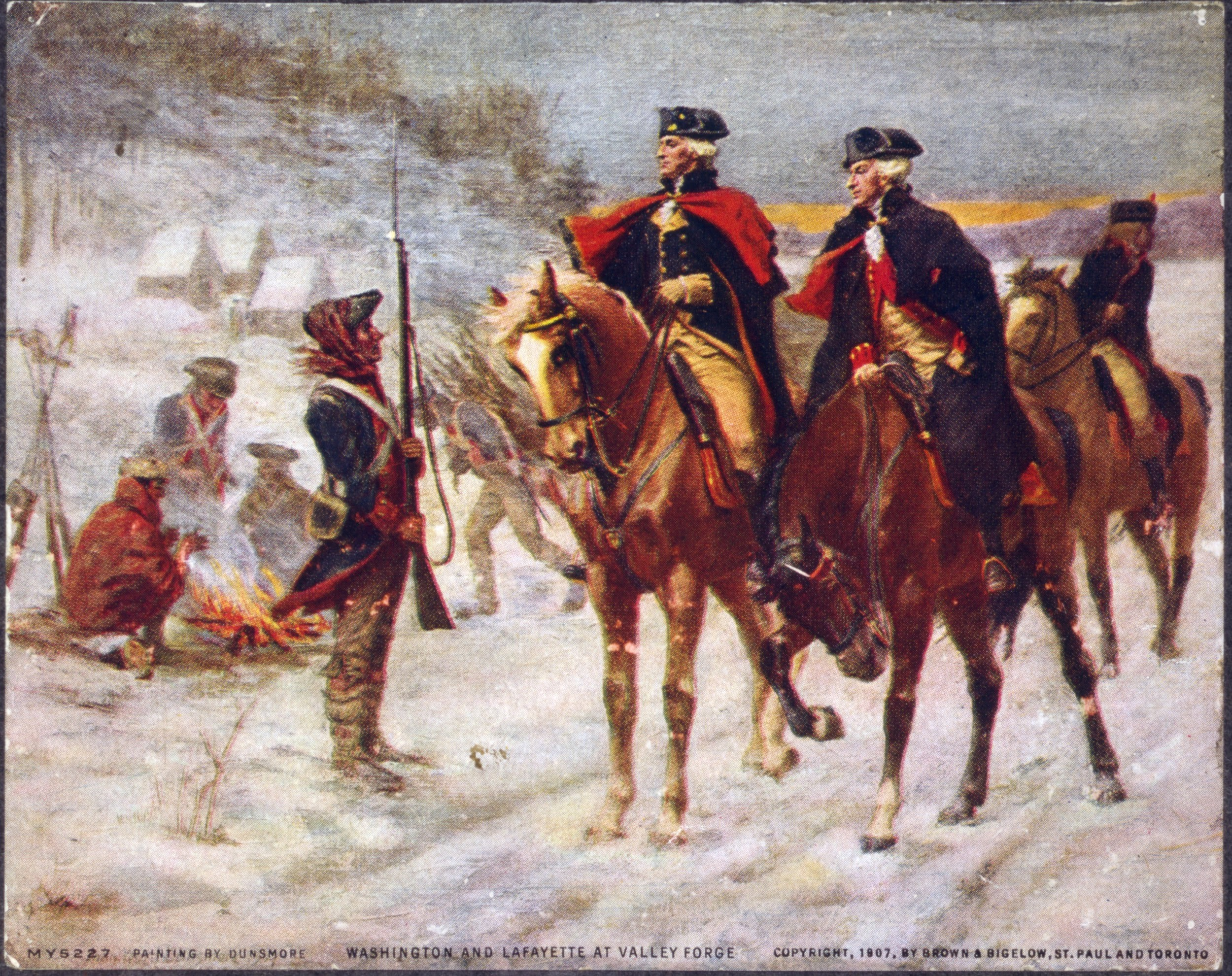 George Washington (left) and the Marquis de Lafayette (right) at Valley Forge.
