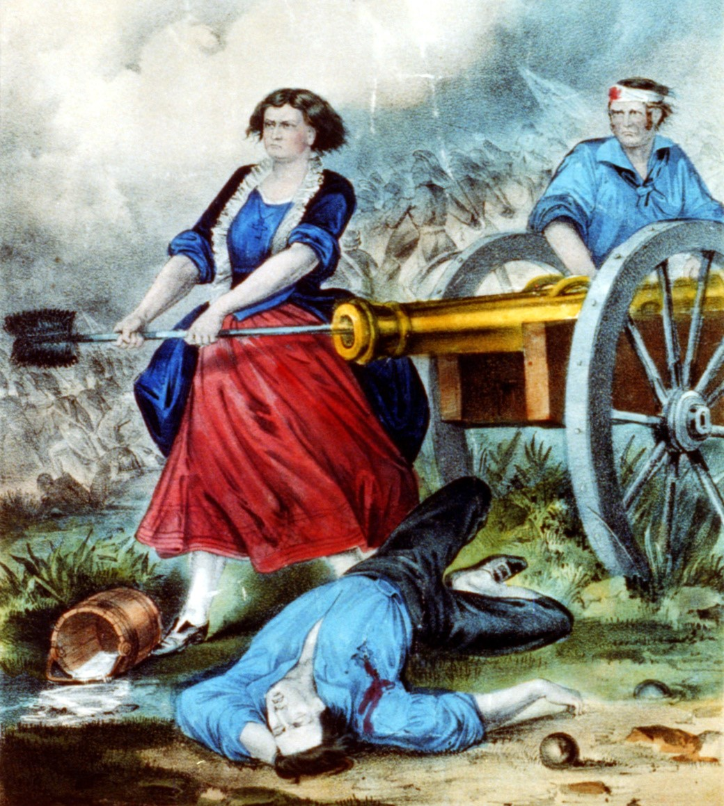 A popularized depiction of Molly Pitcher, published by Currier & Ives between 1865 and 1907.