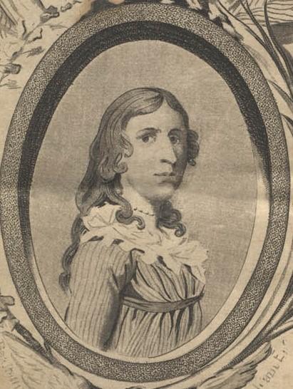 Portrait of Deborah Sampson, 1797, from her published memoirs.