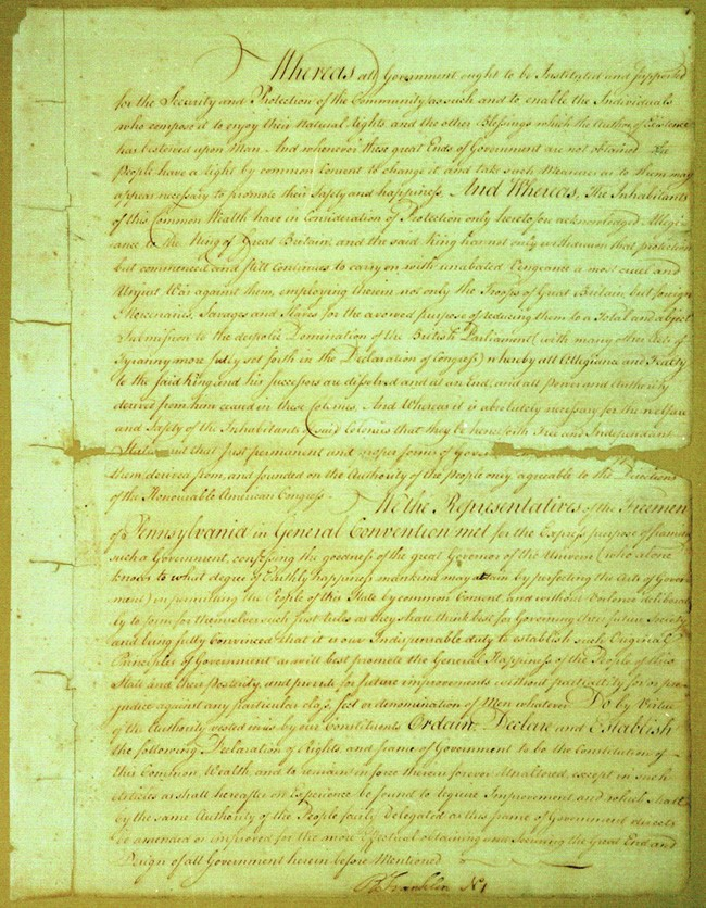 The Pennsylvania constitution of 1776, the first page of which is shown here, adhered to more democratic principles than other state constitutions, most notably that of Massachusetts.