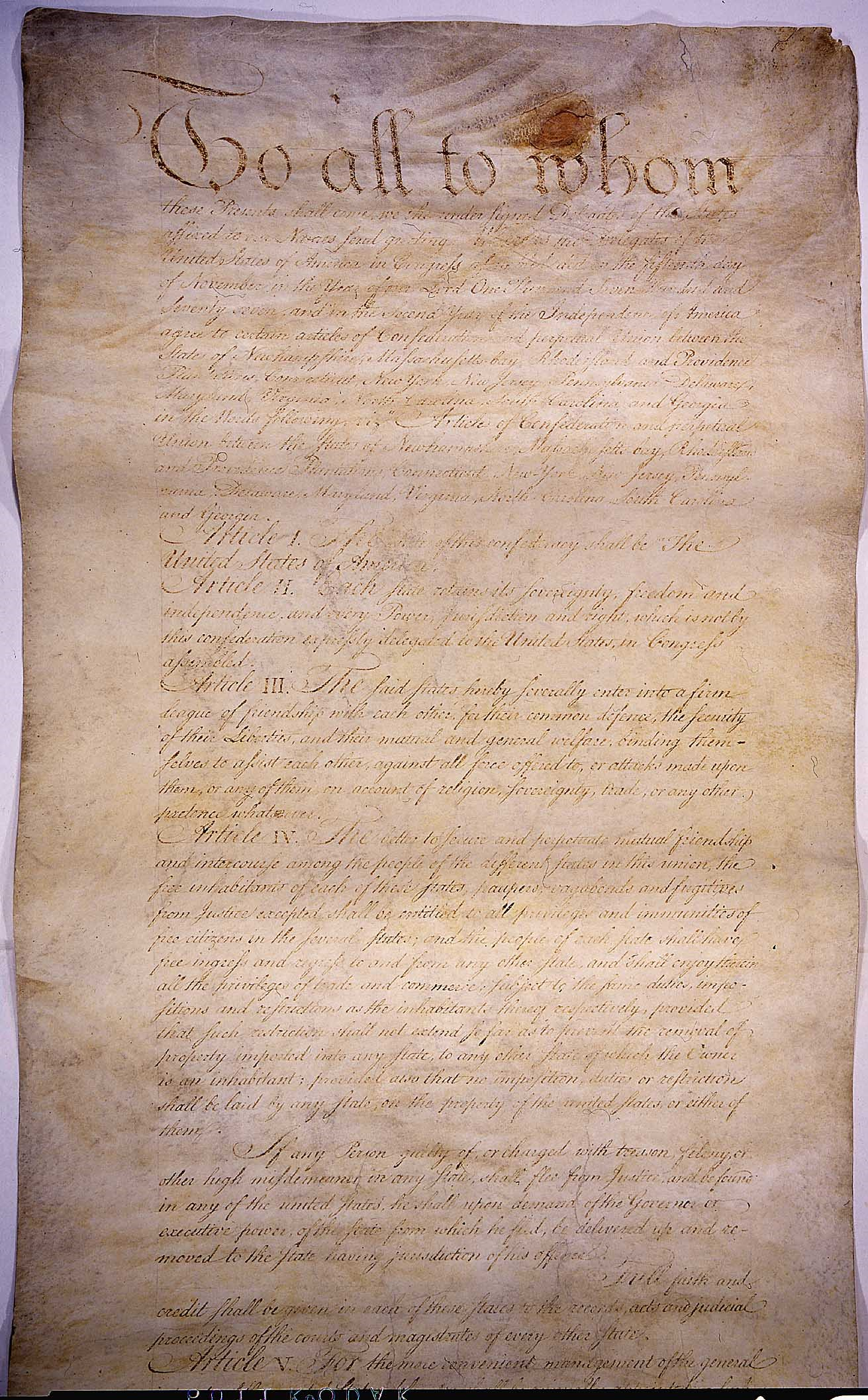 The first page of the Articles of Confederation.