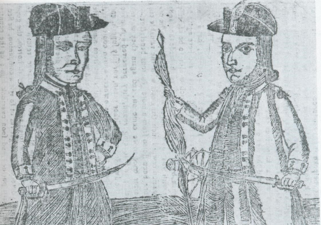 This woodcut, from Bickerstaff's Boston Almanack of 1787, depicts Daniel Shays and Job Shattuck. Shays and Shattuck were two of the leaders of the rebels who rose up against the Massachusetts government in 1786 to 1787. As Revolutionary War veterans, both men wear the uniform of officers of the Continental Army.