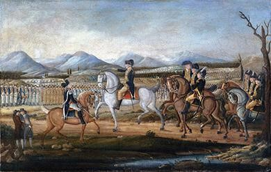 This painting, attributed to Frederick Kemmelmeyer (ca. 1795), depicts the massive force George Washington led to suppress the Whiskey Rebellion of the previous year. Such an action made it clear that the Federalists would do everything in their power to ensure the survival of the American republic under the Constitution.