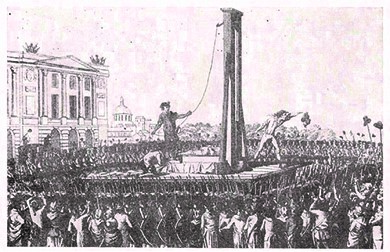 A depiction of the beheading of Louis XVI during the French Revolution. The violence of the revolutionary French horrified many in the United States — especially Federalists, who saw it as an example of what could happen when the mob gained political control and instituted direct democracy.