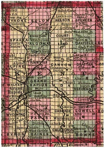 By the late 19th century, the effects of Jefferson's ordinances were clear on American maps. This 1885 map of Kent County, Michigan, clearly illustrates the township-section system juxtaposed on a natural landscape of lakes, streams, and rivers.