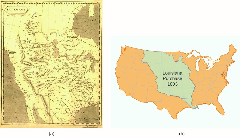 This 1804 map (a) shows the territory added to the United States in the Louisiana Purchase of 1803. Compare this depiction to the contemporary map (b).