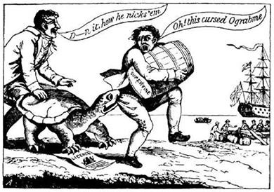 "In this political cartoon from 1807, a snapping turtle (holding a shipping license) grabs a smuggler in the act of sneaking a barrel of sugar to a British ship. The smuggler cries, ""Oh, this cursed Ograbme!"" (""Ograbme"" is ""embargo"" spelled backwards.)"