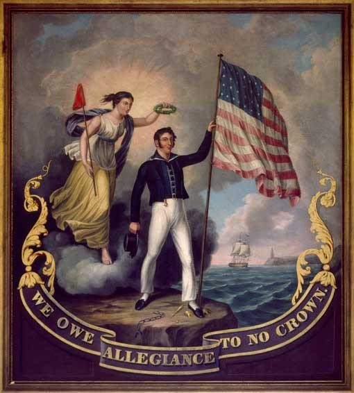 "painting by John Archibald Woodside titled ""We Owe Allegiance to No Crown"