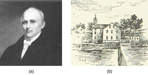 Samuel Slater (a) was a British migrant who brought plans for English textile mills to the United States and built the nation's first successful water-powered mill in Pawtucket, Rhode Island (b).