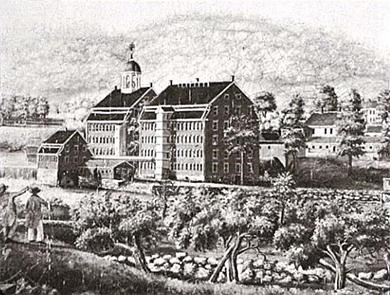 The Boston Manufacturing Company, shown in this engraving made in 1813–1816, was headquartered in Waltham, Massachusetts.