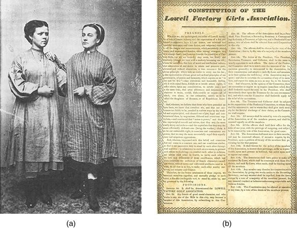 """New England mill workers were often young women, as seen in this early tintype made ca. 1870 (a). When management proposed rent increases for those living in company boarding houses, female textile workers in Lowell responded by forming the Lowell Factory Girls Association — its constitution is shown in image (b) — in 1836 and organizing a """"turn-out"""" or strike."""