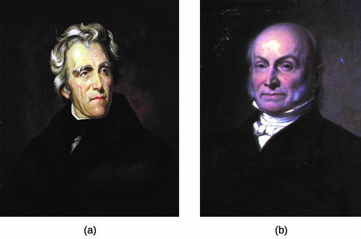 The two most popular presidential candidates in the election of 1824 were Andrew Jackson (a), who won the popular vote but failed to secure the requisite number of votes in the Electoral College, and John Quincy Adams (b), who emerged victorious after a contentious vote in the U.S. House of Representatives.