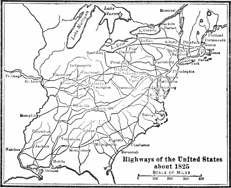 Map of major roadways in the United States by 1825.
