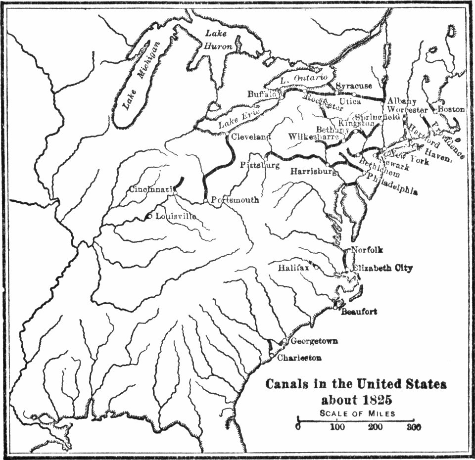 Map of major canals in the United States by 1825. Note that most canals were located in the Northeast or Midwest.