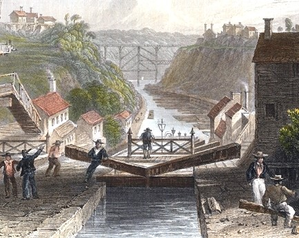 A view of the Erie Canal from Lockport, New York, 1839.
