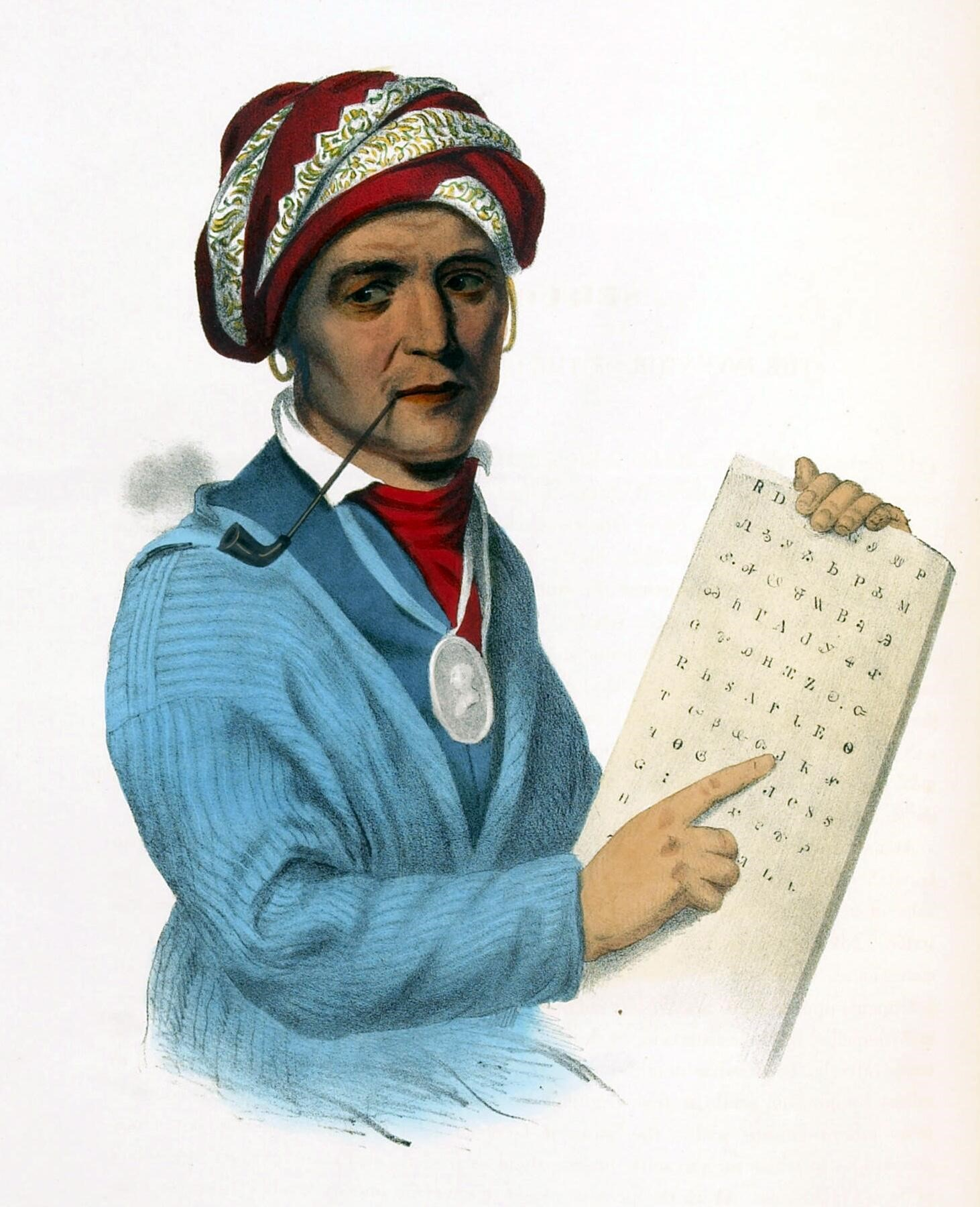 Depiction of Sequoyah with a copy of a syllabary of the Cherokee language, which he developed.