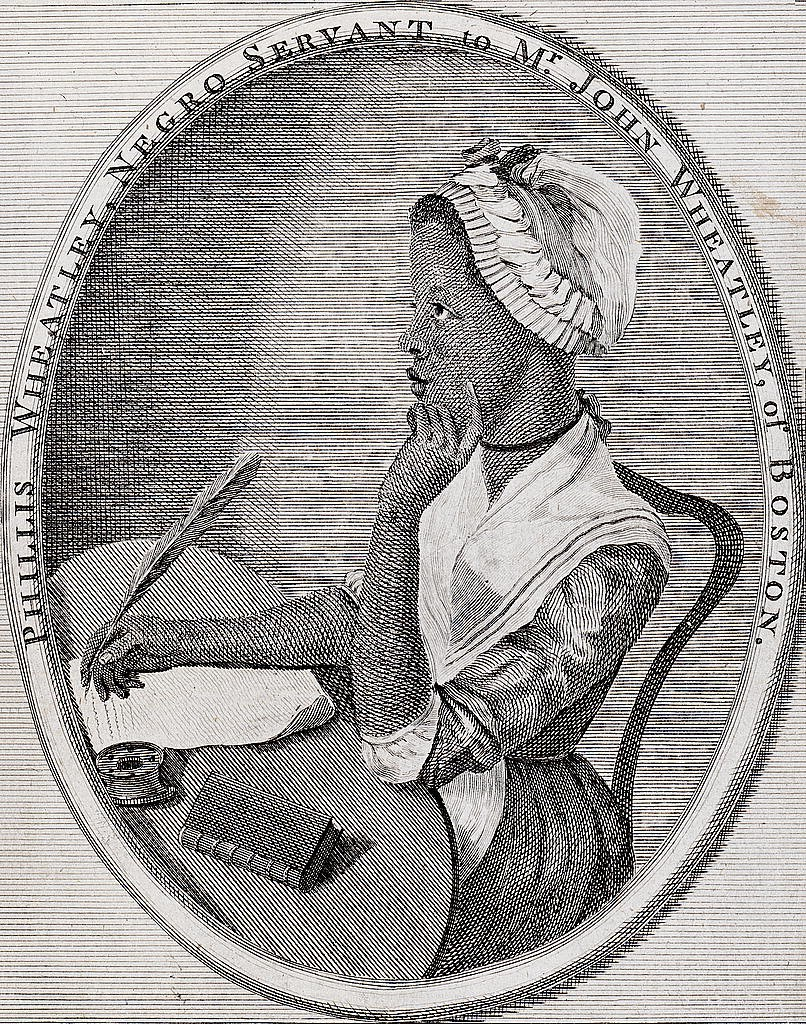 Portrait of Phillis Wheatley from her book Poems of Various Subjects (1773).