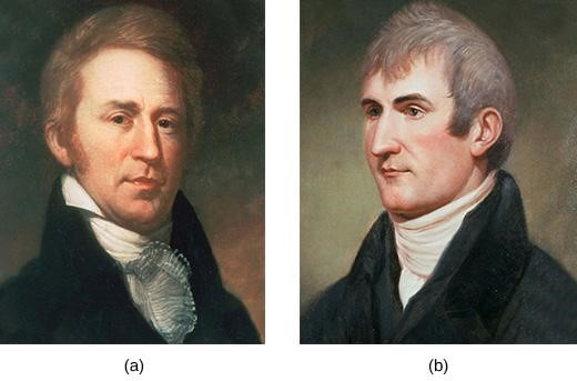 Charles Willson Peale, celebrated portraitist of the American Revolution, painted both William Clark (a) and Meriwether Lewis (b) in 1810 and 1807, respectively, after they returned from their expedition west.