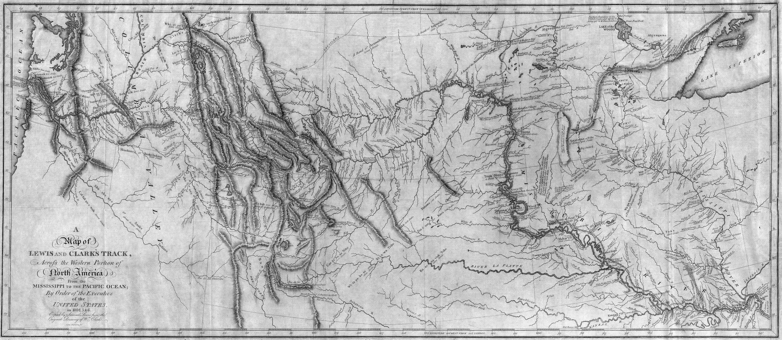 This 1814 map of Lewis and Clark's path across North America from the Missouri River to the Pacific Ocean was based on maps and notes made by William Clark. The expedition added greatly to American knowledge of the territory that lay west of the Mississippi River. Of particular note, this map accurately located the source of the Missouri and Columbia rivers, as well as denoted the location of the Rocky Mountains.